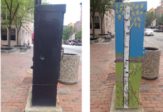 Before and after: Nancy Welsh transformed the rusted utility box into art.