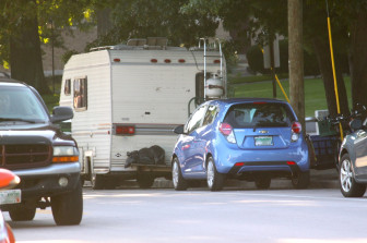 A trailer that has been parking all summer at Bronstein.