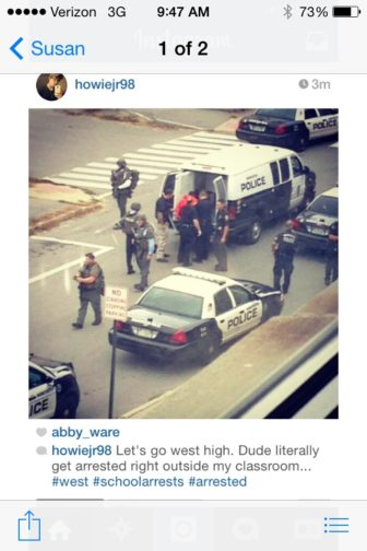Instagram photo taken by a West student who posted it on Instagram as the action unfolded.