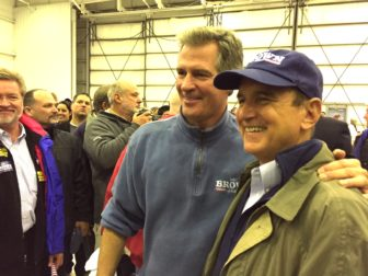 Scott Brown greeted supporters during Sunday's rally in Manchester.