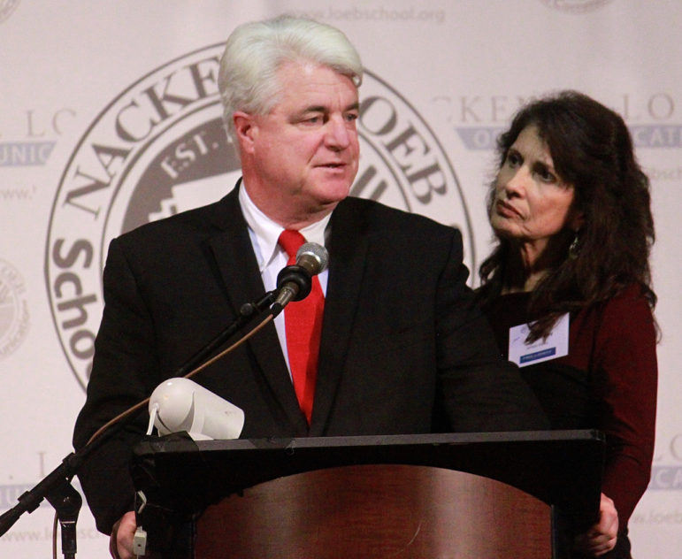 John and Diane Foley, parents of slain NH journalist James Foley, address attendees at the 12th Annual Nackey Loeb School First Amendment Award at the Radisson Hotel.