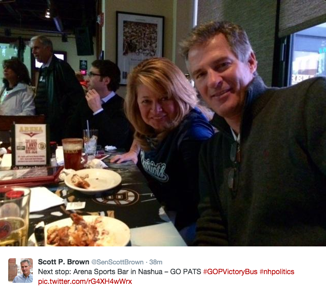Scott Brow and his wife, Gail Huff enjoying a bite to eat at Arena Sports Bar in Nashua.