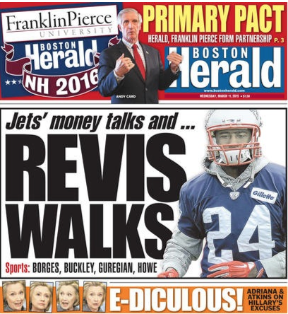 Frankin Pierce partnership front-page news in the Boston Herald.