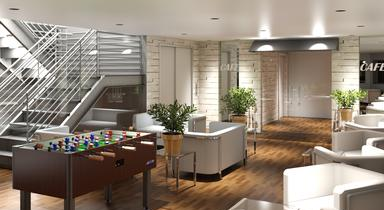 How the common area at The Flats micro-apartment complex on Hanover Street would look.
