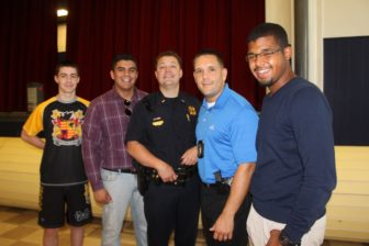 """From left, Michael Anglin, """"G"""" Ortiz Perez, Sgt. Brian O'Keefe, John Levasseur and Victor Rodriguez."""