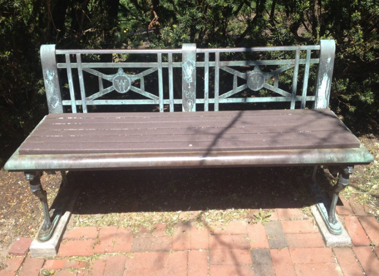 One of the original benches placed in Wagner Park in the mid-1940s.