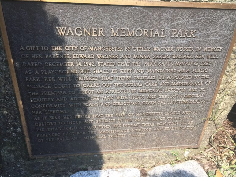 Commemorative plaque at Wagner Memorial Park, aka Pretty Park.