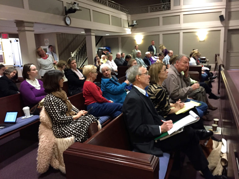 City clerks, state reps, poll workers and others gathered at City Hall on Wednesday for a Poll Pad demo.