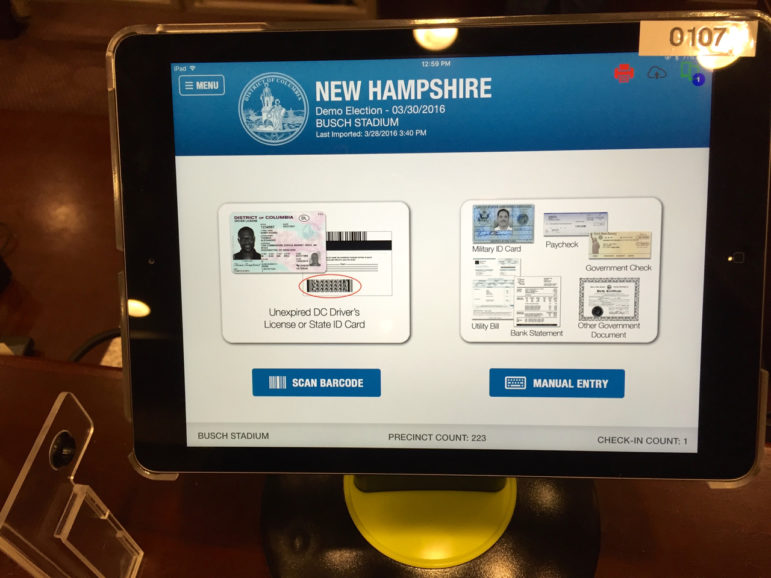 Poll Pad is an iPad-based check-in system that would operate on a statewide checklist database.