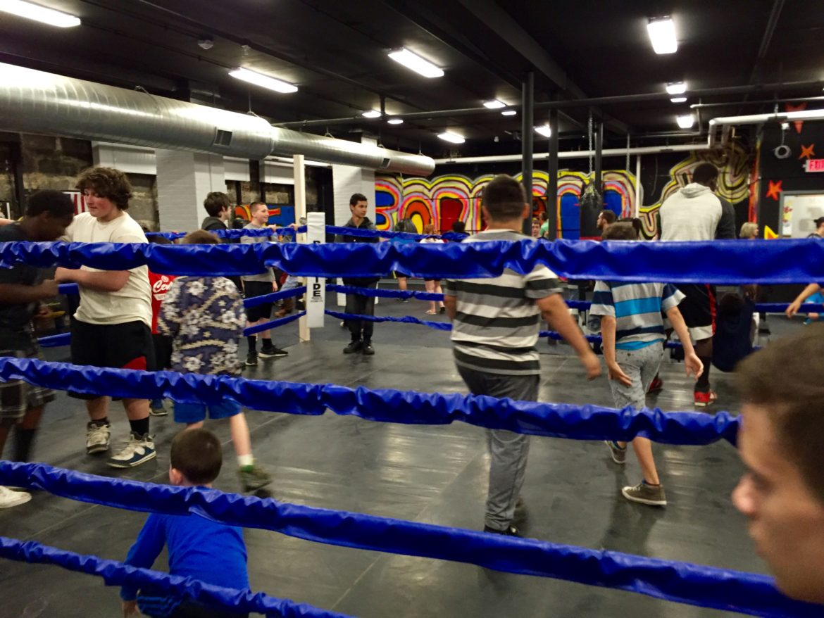 Everyone gets in on the action inside the new boxing ring.