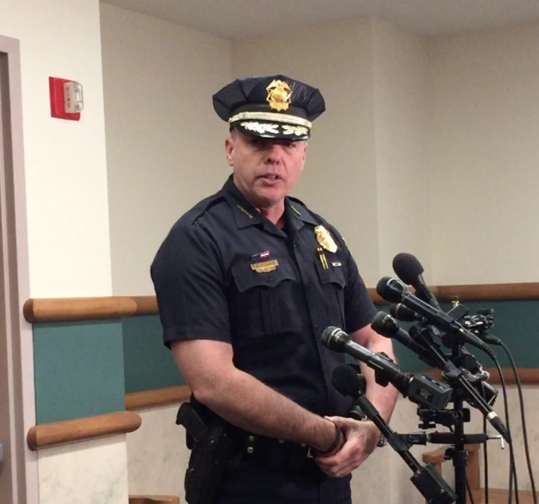 Manchester Police Chief Nick Willard fields questions following the Monday's scheduled arraignment.