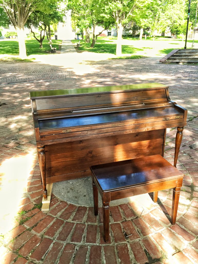 Mancheter's first public piano, donated by Joyce Craig, now ready for playing at Victory Park.