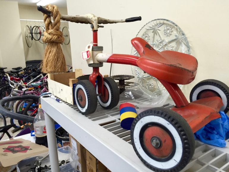 This vintage Toddler Trike was rescued from the scrap man and is now a permanent fixture at QC Bike Collective.
