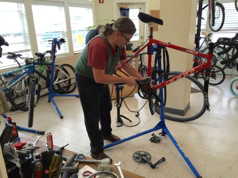 Jim Robidoux brought his bike to the QC Bike Collective for some help during a recent open shop.
