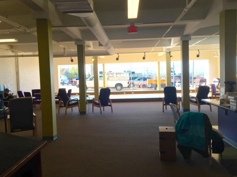 The renovated space includes a coffee bar, offices and meeting rooms.