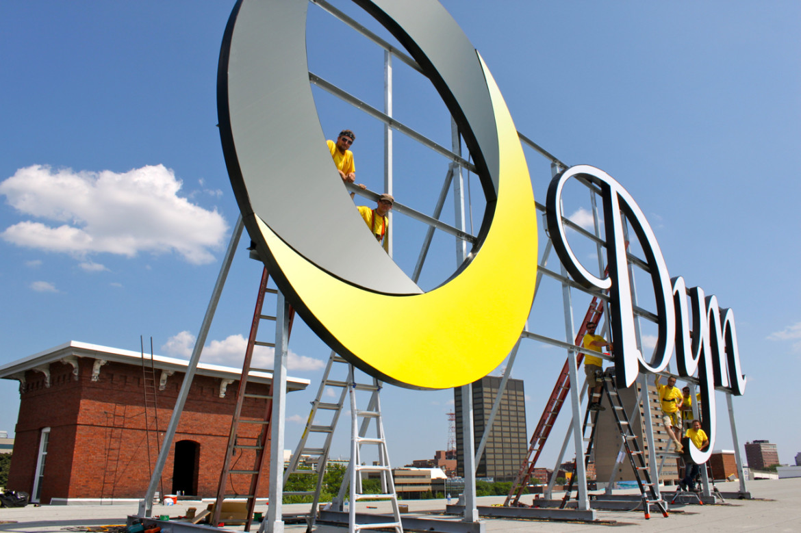 Dyn Inc. has a new sign, installed by First Sign in one day.