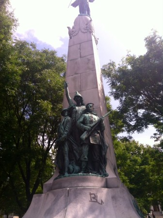 Let's clean up the graffiti on this statue and fix what's broken.