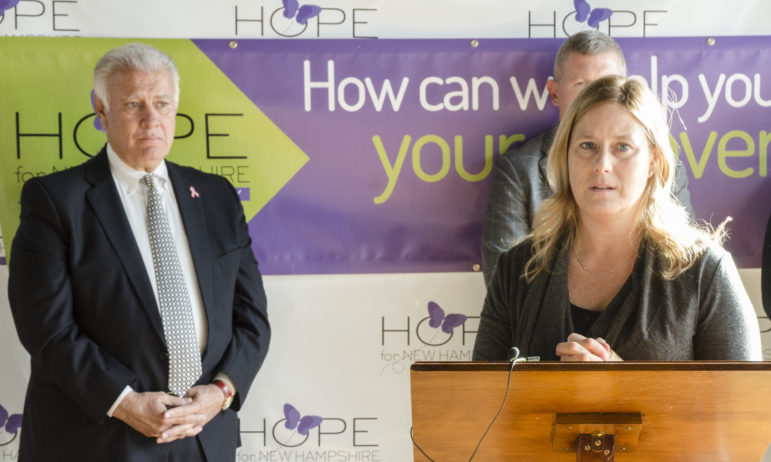 Melissa Fortin Crews;, right, of Hope for NH Recovery, with Mayor Ted Gatsas.