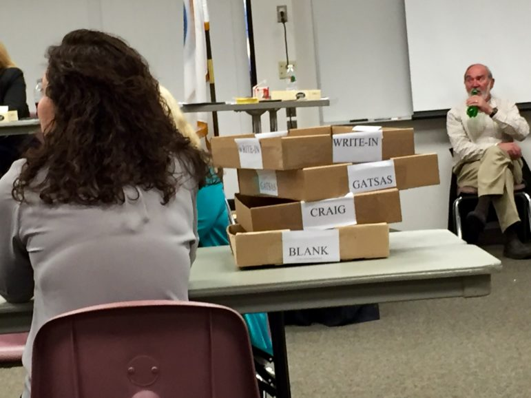 Once counted, ballots end up in one of four bins, Gatsas, Craig, Blank or Write-In.