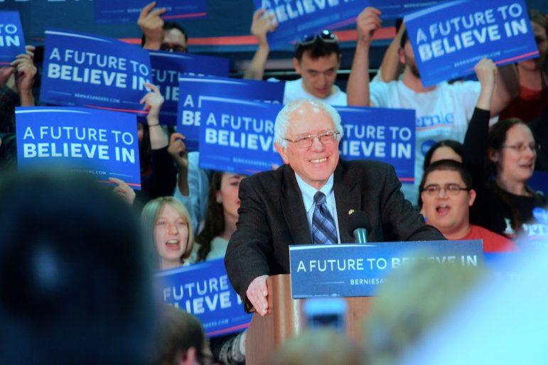 Sen. Bernie Sanders speaking at SNHU on Jan. 4, 2016.
