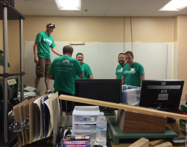 Fidelity Investments employees give Parkside Middle School a facelift.