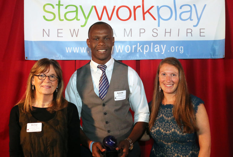 Citizen of the Year Arnold Mokolo, center, with Betsy Gardella, left, of NHPR, and Kate Lucsko, right, of Stay Work Play.