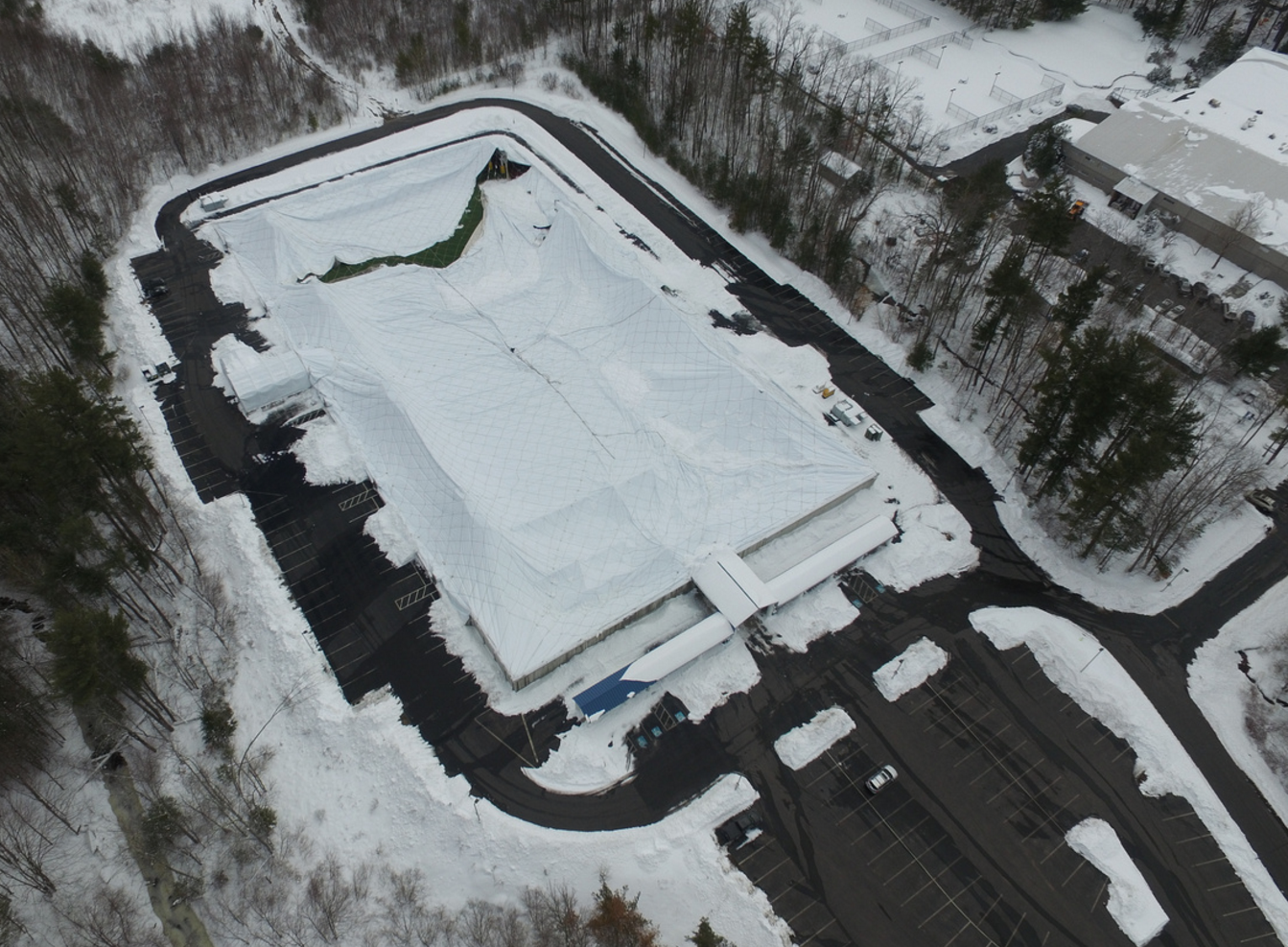 Roof Collapse At Milford Health Club Due To Snow Load On