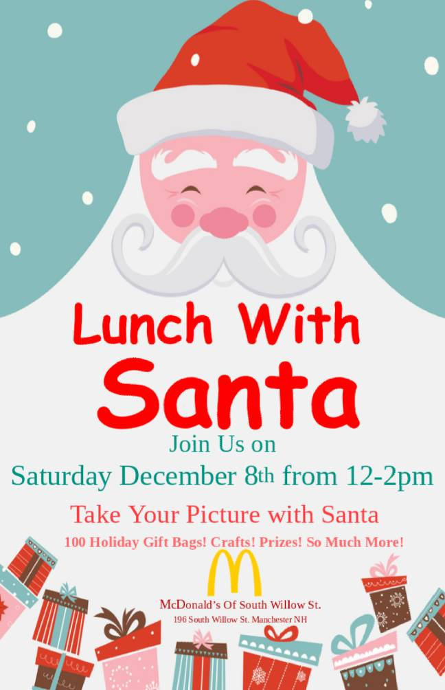 Lunch With Santa At Mcdonalds On Dec 8 Manchester Ink Link