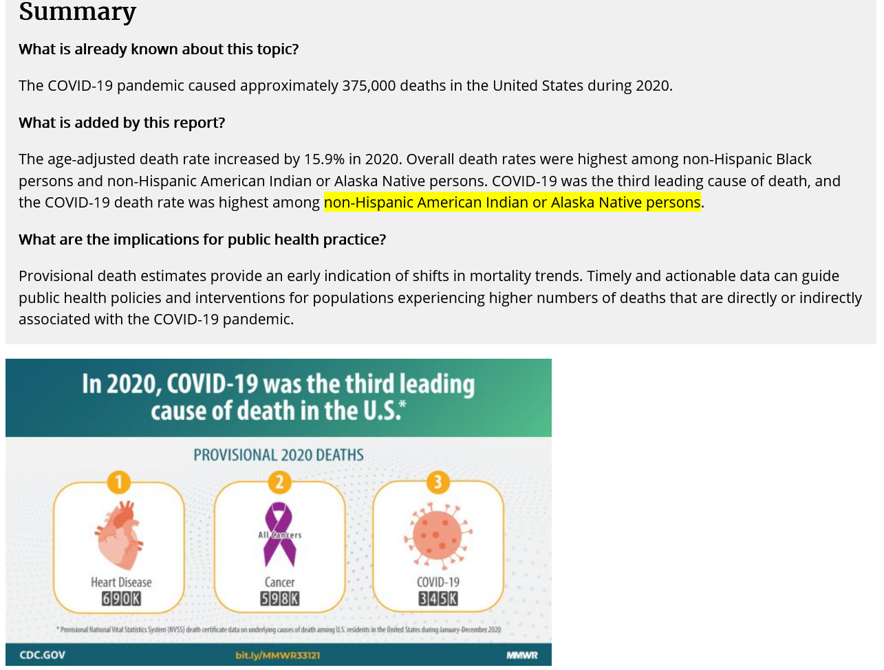 CDC Increase in Death Rate 2020